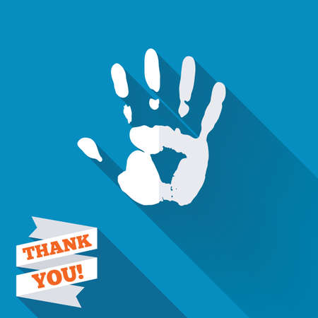 Hand print sign icon. Stop symbol. White flat icon with long shadow. Paper ribbon label with Thank you text. photo