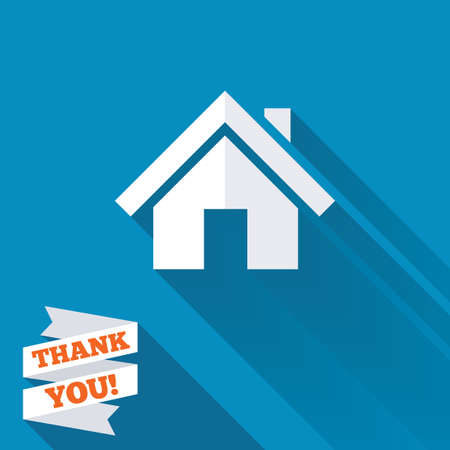 page long: Home sign icon. Main page button. Navigation symbol. White flat icon with long shadow. Paper ribbon label with Thank you text.