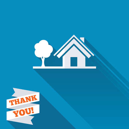 Home sign icon. House with tree symbol. White flat icon with long shadow. Paper ribbon label with Thank you text. photo