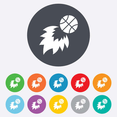Basketball fireball sign icon. Sport symbol. Round colourful 11 buttons.  Vector