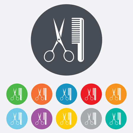 comb hair: Comb hair with scissors sign icon. Barber symbol. Round colourful 11 buttons.
