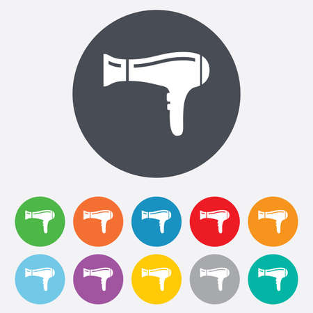 blow drying: Hairdryer sign icon. Hair drying symbol. Round colourful 11 buttons.