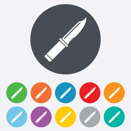 stab: Knife sign icon. Edged weapons symbol. Stab or cut. Hunting equipment. Round colourful 11 buttons.  Illustration