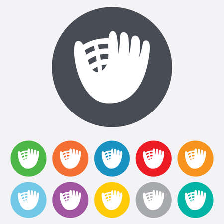 mitt: Baseball glove or mitt sign icon. Sport symbol. Round colourful 11 buttons.