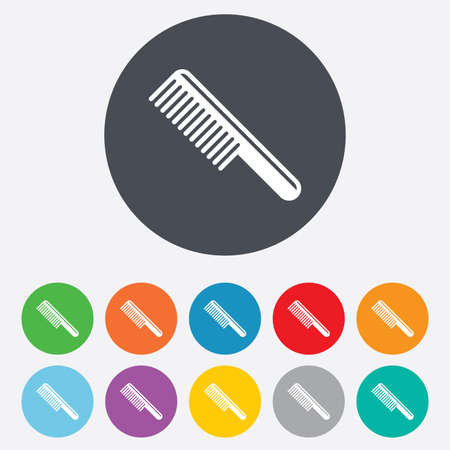 comb hair: Comb hair sign icon. Barber symbol. Round colourful 11 buttons.