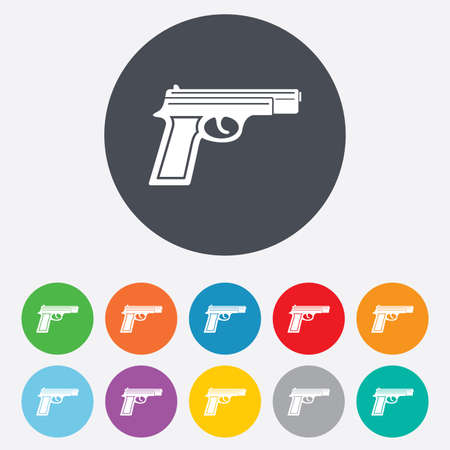 Gun sign icon. Firearms weapon symbol. Round colourful 11 buttons.  Vector