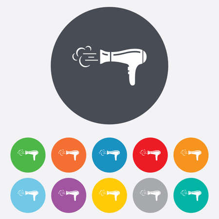 Hairdryer sign icon. Hair drying symbol. Blowing hot air. Turn on. Round colourful 11 buttons.