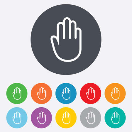 give me five: Hand sign icon. No Entry or stop symbol. Give me five. Round colourful 11 buttons.