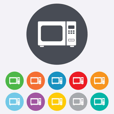 microwave stove: Microwave oven sign icon. Kitchen electric stove symbol. Round colourful 11 buttons.  Illustration
