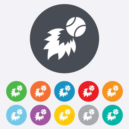 Tennis fireball sign icon. Fast sport symbol. Round colourful 11 buttons.  Vector