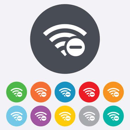 minus sign: Wifi minus sign. Delete Wifi symbol. Wireless Network icon. Wifi zone. Round colourful 11 buttons.  Illustration