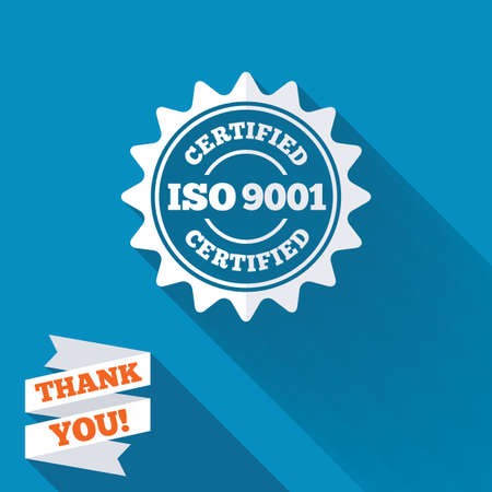 accepted: ISO 9001 certified sign icon. Certification star stamp. White flat icon with long shadow. Paper ribbon label with Thank you text.