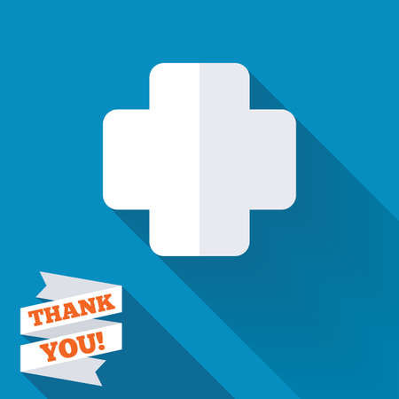 Medical cross sign icon. Diagnostics symbol. White flat icon with long shadow. Paper ribbon label with Thank you text. photo