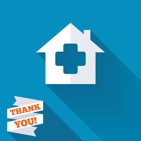 Medical hospital sign icon. Home medicine symbol. White flat icon with long shadow. Paper ribbon label with Thank you text. photo