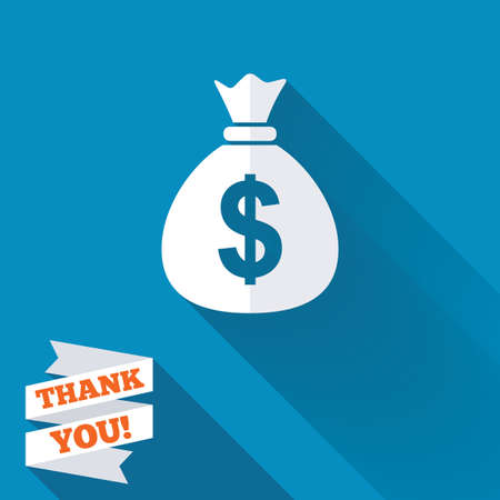 bag of money: Money bag sign icon. Dollar USD currency symbol. White flat icon with long shadow. Paper ribbon label with Thank you text. Stock Photo
