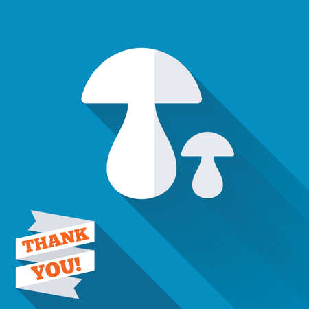 Mushroom sign icon. Boletus mushroom symbol. White flat icon with long shadow. Paper ribbon label with Thank you text. Фото со стока