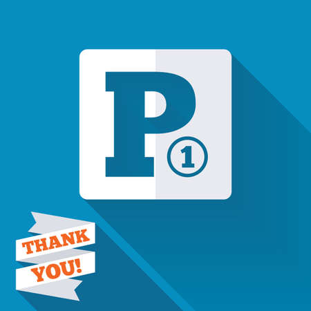 Paid parking sign icon. Car parking symbol. White flat icon with long shadow. Paper ribbon label with Thank you text. photo