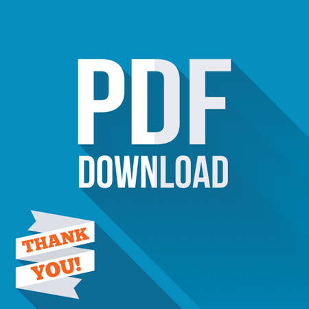 PDF download icon. Upload file button. Load symbol. White flat icon with long shadow. Paper ribbon label with Thank you text. photo