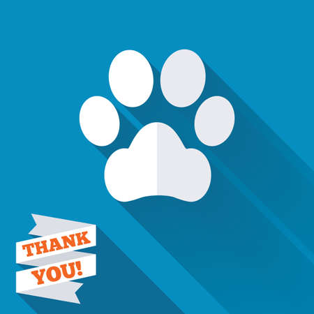 Dog paw sign icon. Pets symbol. White flat icon with long shadow. Paper ribbon label with Thank you text. photo