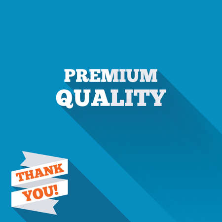 you are special: Premium quality sign icon. Special offer symbol. White flat icon with long shadow. Paper ribbon label with Thank you text. Stock Photo