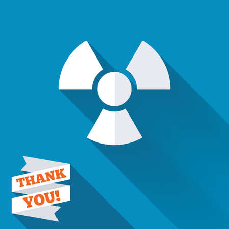 Radiation sign icon. Danger symbol. White flat icon with long shadow. Paper ribbon label with Thank you text. photo