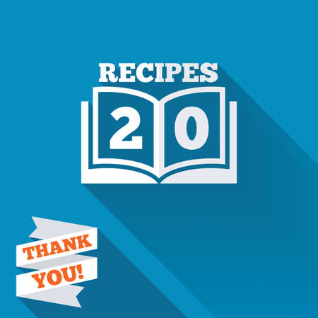 recipe book: Cookbook sign icon. 20 Recipes book symbol. White flat icon with long shadow. Paper ribbon label with Thank you text.