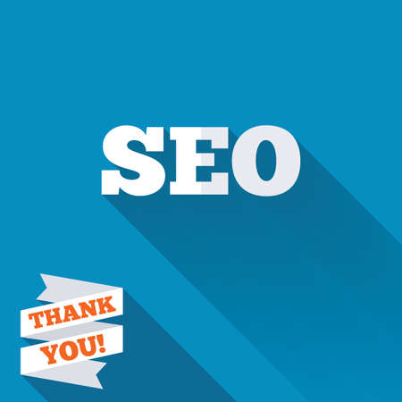 meta analysis: SEO sign icon. Search Engine Optimization symbol. White flat icon with long shadow. Paper ribbon label with Thank you text.