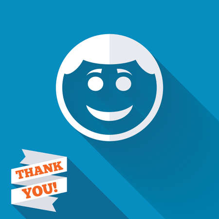 round face: Smile face sign icon. Happy smiley with hairstyle chat symbol. White flat icon with long shadow. Paper ribbon label with Thank you text. Stock Photo