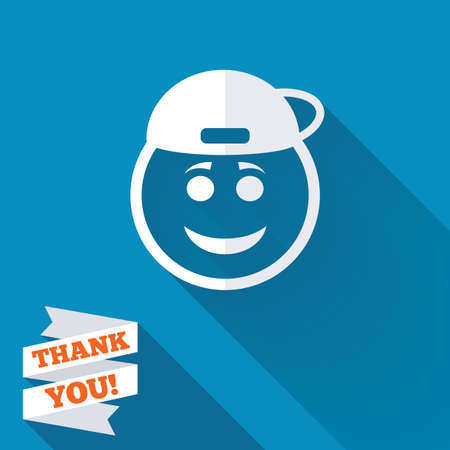 Smile rapper face sign icon. Happy smiley with hairstyle chat symbol. White flat icon with long shadow. Paper ribbon label with Thank you text. photo
