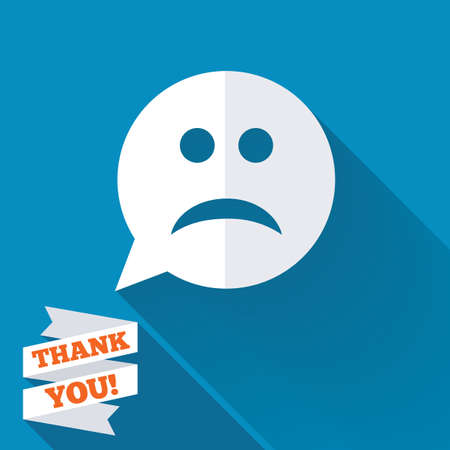 sad face: Sad face sign icon. Sadness depression chat symbol. Speech bubble. White flat icon with long shadow. Paper ribbon label with Thank you text.