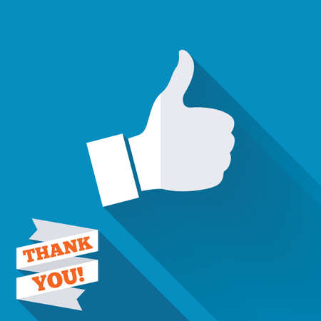 Like sign icon. Thumb up sign. Hand finger up symbol. White flat icon with long shadow. Paper ribbon label with Thank you text. Stock Photo