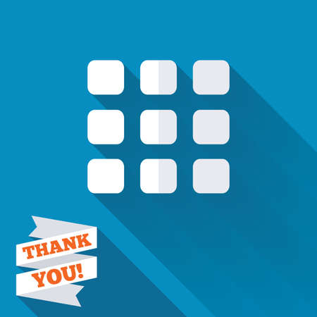 thumbnails: Thumbnails grid sign icon. Gallery view option symbol. White flat icon with long shadow. Paper ribbon label with Thank you text.