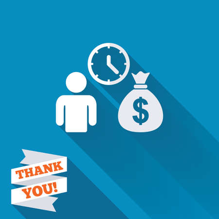 borrow: Bank loans sign icon. Get money fast symbol. Borrow money. White flat icon with long shadow. Paper ribbon label with Thank you text.
