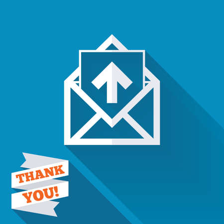 outgoing: Mail icon. Envelope symbol. Outgoing message sign. Mail navigation button. White flat icon with long shadow. Paper ribbon label with Thank you text.
