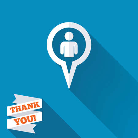 Map pointer user sign icon. Person location marker symbol. White flat icon with long shadow. Paper ribbon label with Thank you text. photo