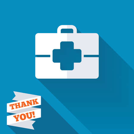 Medical case sign icon. Doctor symbol. White flat icon with long shadow. Paper ribbon label with Thank you text. photo