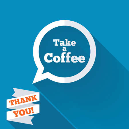 Take a Coffee sign icon. Coffee speech bubble. White flat icon with long shadow. Paper ribbon label with Thank you text. photo