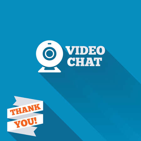 Video chat sign icon. Webcam video conversation symbol. Website webcam talk. White flat icon with long shadow. Paper ribbon label with Thank you text. photo