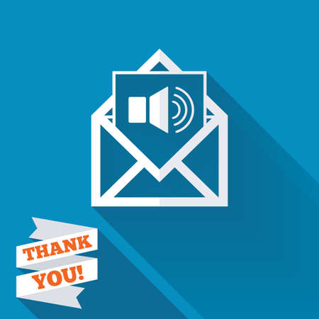 voice mail: Voice mail icon. Speaker symbol. Audio message. White flat icon with long shadow. Paper ribbon label with Thank you text.