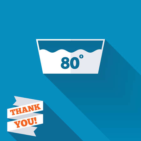 eighty: Wash icon. Machine washable at 80 degrees symbol. White flat icon with long shadow. Paper ribbon label with Thank you text.