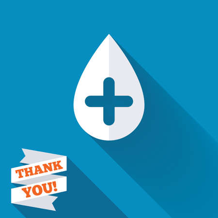 Water drop with plus sign icon. Softens water symbol. White flat icon with long shadow. Paper ribbon label with Thank you text. Stock Photo