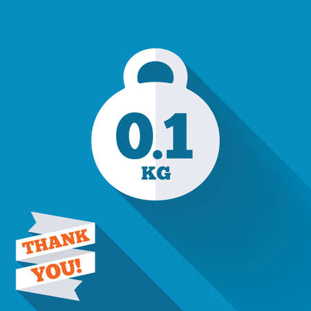 01: Weight sign icon. 0.1 kilogram (kg). Envelope mail weight. White flat icon with long shadow. Paper ribbon label with Thank you text.