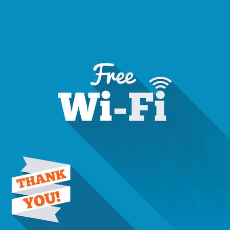 wifi access: Free wifi sign. Wifi symbol. Wireless Network icon. Wifi zone. White flat icon with long shadow. Paper ribbon label with Thank you text. Stock Photo