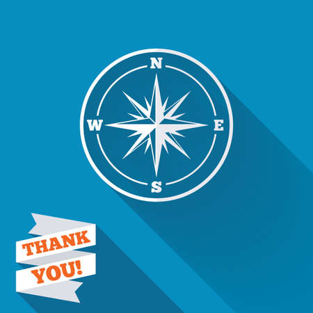 Compass sign icon. Windrose navigation symbol. White flat icon with long shadow. Paper ribbon label with Thank you text. photo