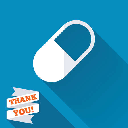 Medical pill sign icon. Drugs symbol. White flat icon with long shadow. Paper ribbon label with Thank you text. photo