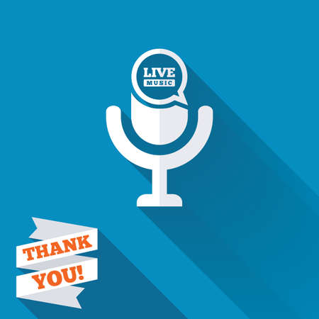 long live: Microphone icon. Speaker symbol. Live music sign. White flat icon with long shadow. Paper ribbon label with Thank you text.