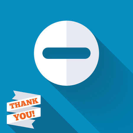 Minus sign icon. Negative symbol. Zoom out. White flat icon with long shadow. Paper ribbon label with Thank you text. photo