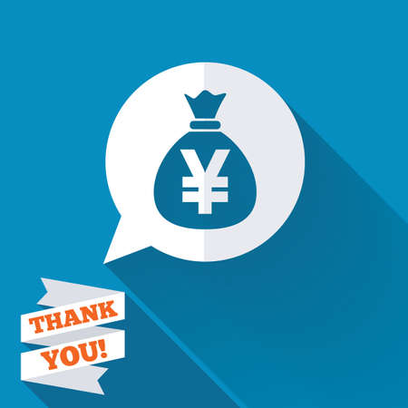 Money bag sign icon. Yen JPY currency speech bubble symbol. White flat icon with long shadow. Paper ribbon label with Thank you text. photo