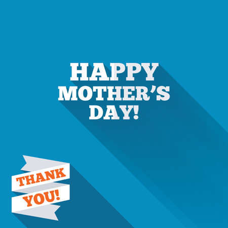 blue you: Happy Motherss Day sign icon. Mom symbol. White flat icon with long shadow. Paper ribbon label with Thank you text. Stock Photo
