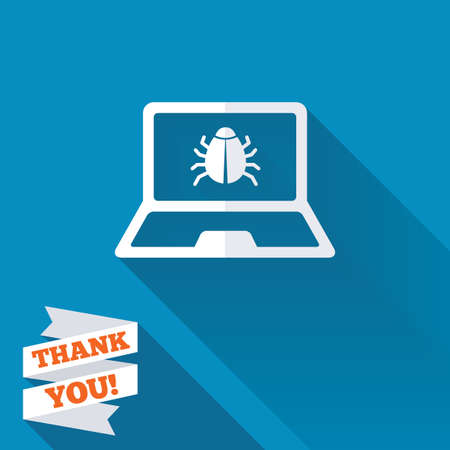 Laptop virus sign icon. Notebook software bug symbol. White flat icon with long shadow. Paper ribbon label with Thank you text.